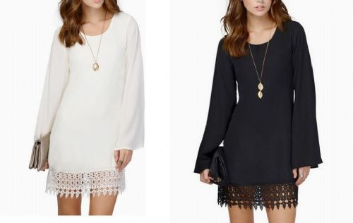 Ladies Black White Chiffon Lace Long Sleeve Mini Dress Loose Top